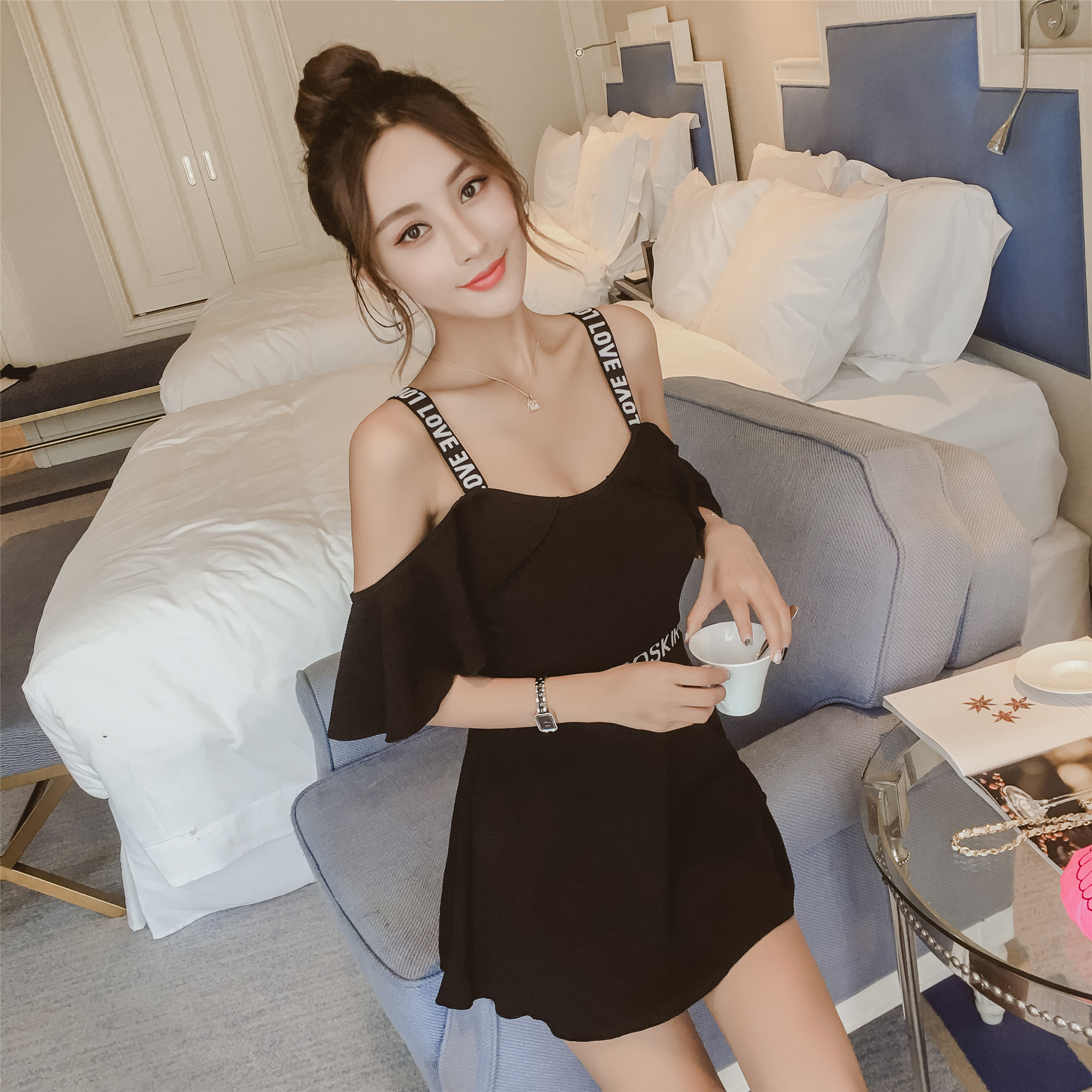 usd 46 91 black one piece swimsuit female cover belly conservative