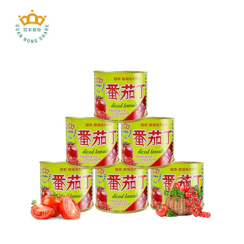 冠农股份新疆特产番茄丁罐头210g*6罐新鲜去皮西红柿膏番茄酱320g_领取3元天猫超市优惠券