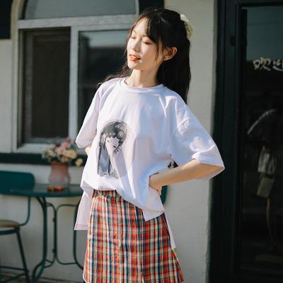 微笑向暖 百搭人像印花T恤白色t恤短袖2020年新款女上衣夏季衣服