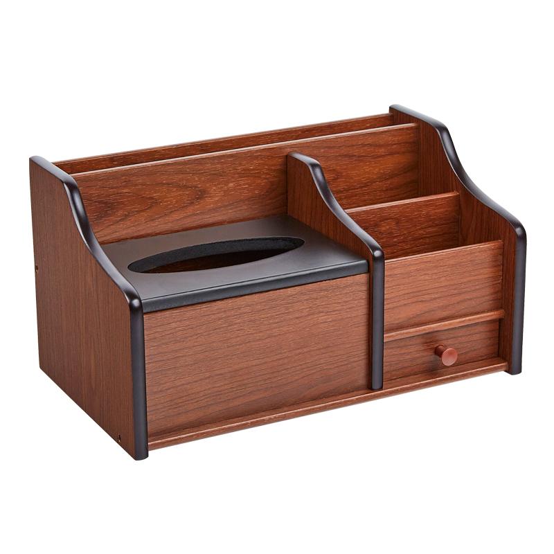 收纳木质家用办公盒创意摆件盒抽纸盒多功能笔筒纸巾茶几客厅桌面
