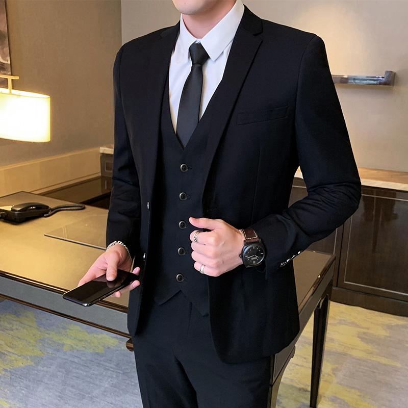韩版修身职业商务外套正装v职业青少年小西服西装结婚礼服男士套装