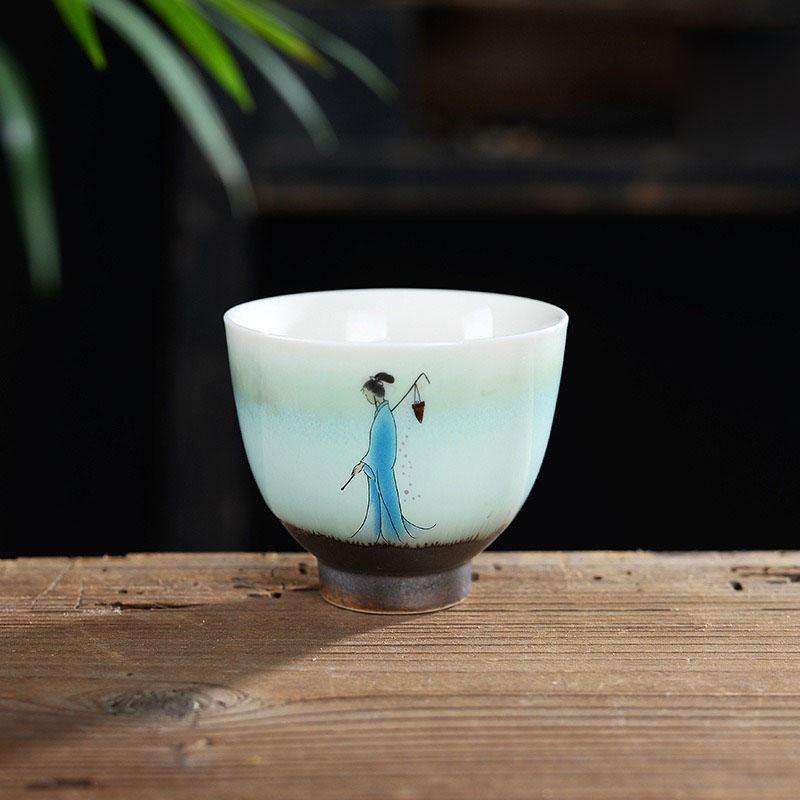BoHua ware ceramic hand - made fairy beauty tea cups sample tea cup in the hand - made teacup ceramics cup
