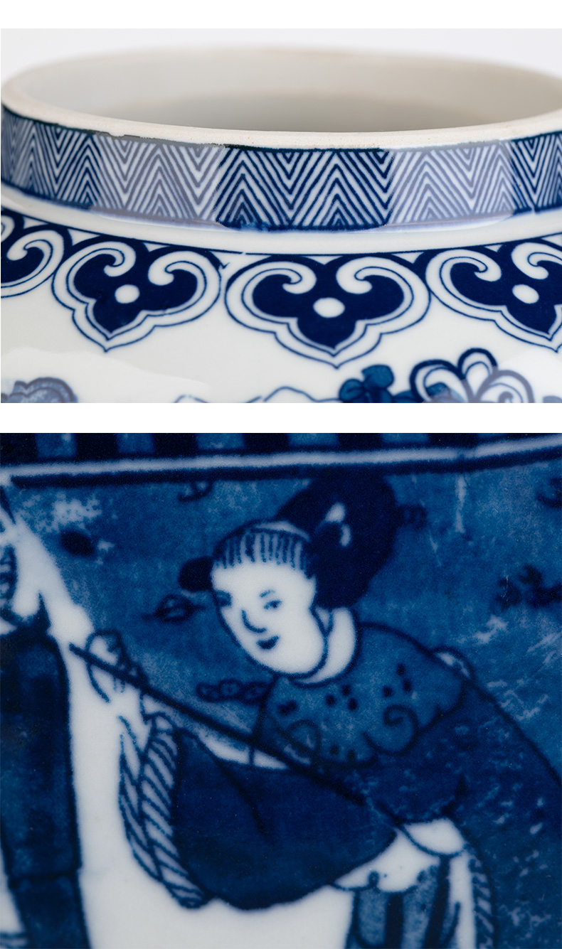 Jingdezhen ceramics archaize large general pot of blue and white porcelain vase sitting room of Chinese style household decorates porch place