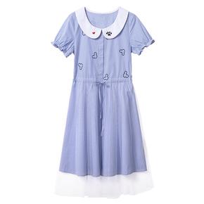 少女格子连衣裙夏装