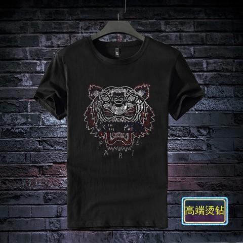 小熊烫钻t恤带钻欧美个性潮牌短袖T恤潮男女情侣时尚纯棉T恤