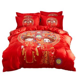 加厚纯棉结婚大红色全棉婚庆四件套
