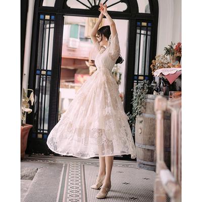 2019夏装新款超仙的白色蕾丝蛋糕连衣裙韩版气质显瘦网红抖音长裙
