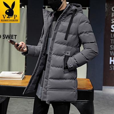 花花公子贵宾加厚保暖中长款男士棉衣冬季时尚韩版长款大衣外套