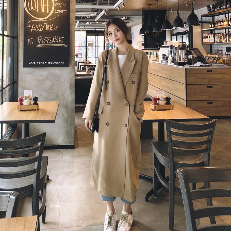 中长款网红小西装外套女2019秋季韩版上衣宽松v外套显瘦风衣潮气质