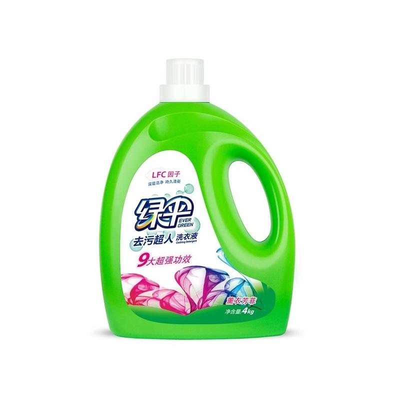 绿伞洗衣液4kg瓶装 深层洁净去渍柔顺护衣持久留香低泡易漂洗馨香