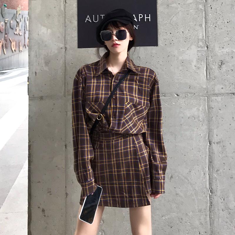 FPROJECT半身套装女格子裙2019秋季新款件套两上衣裙子时尚+短裙