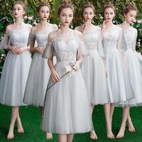 Серый Платье невесты прогрессивный 2019 новая коллекция Весеннее платье невесты женское фасон средней длины стиль Юбка невесты для похудения