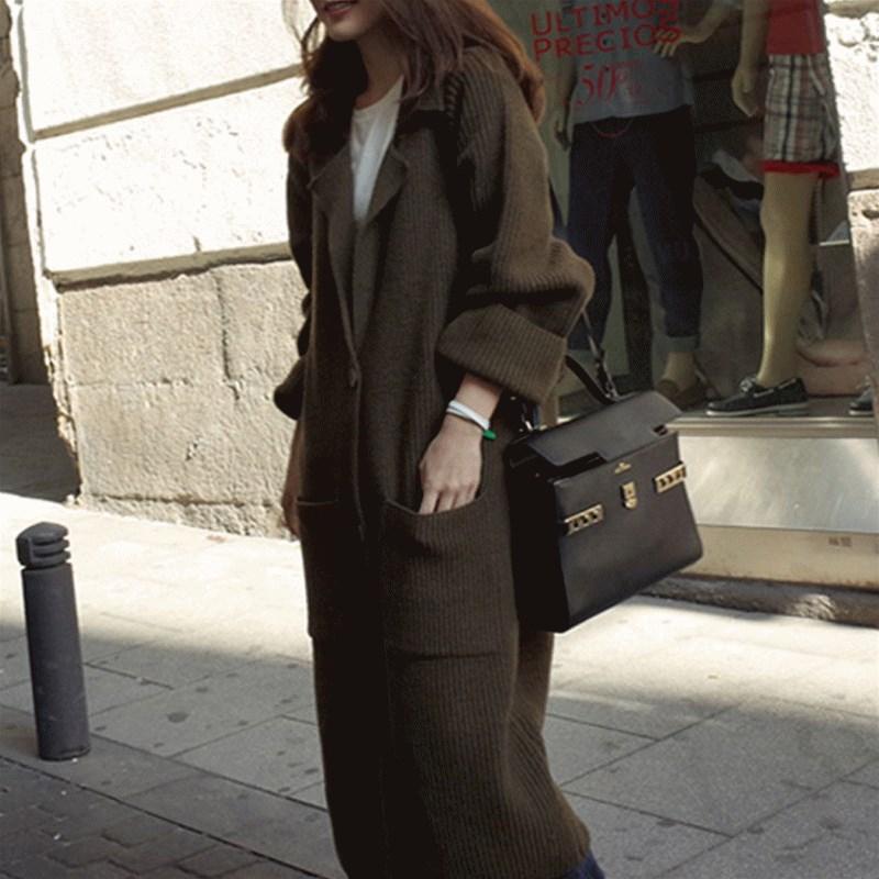 外套女开衫韩版新款宽松过膝秋冬超长款粗线针织毛衣加厚大衣大码