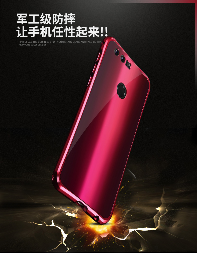 iy Rainbow Aluminum Metal Bumper Dazzle PC Back Cover Case for Huawei Honor 8