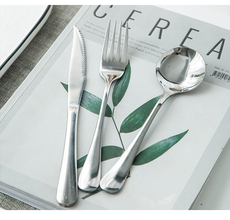 Thickening stainless steel steak knife and fork spoon plate suit western cutlery two - piece forks three pieces