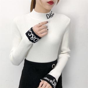 520#实拍!2018最新款字母款纯色修身打底衫上衣女