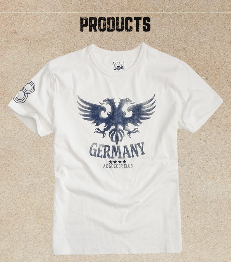 AK nam mùa hè mới World Cup Đức retro đan nam thể thao giản dị ngắn tay T-Shirt áo sơ mi nam triều áo thun nam cotton