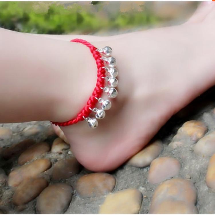 Dệt tay phong cách quốc gia trang sức ác chuyển retro vòng chân natal dây đỏ chuông bạc - Vòng chân