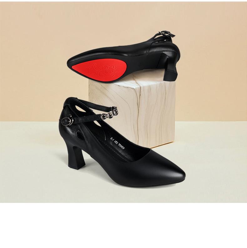 方尚一字扣职业工作鞋软皮女粗跟新款女鞋真皮高跟皮鞋上班带单鞋详细照片