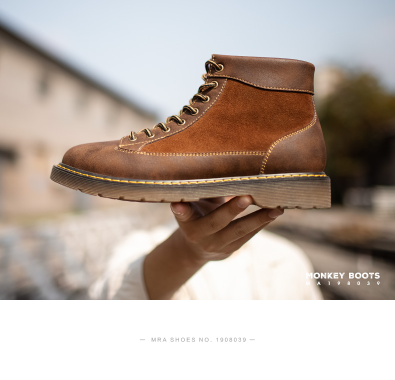 马丁靴男中筒古着鞋復古男鞋高筒工装男靴英伦风靴子男士百搭短靴详细照片