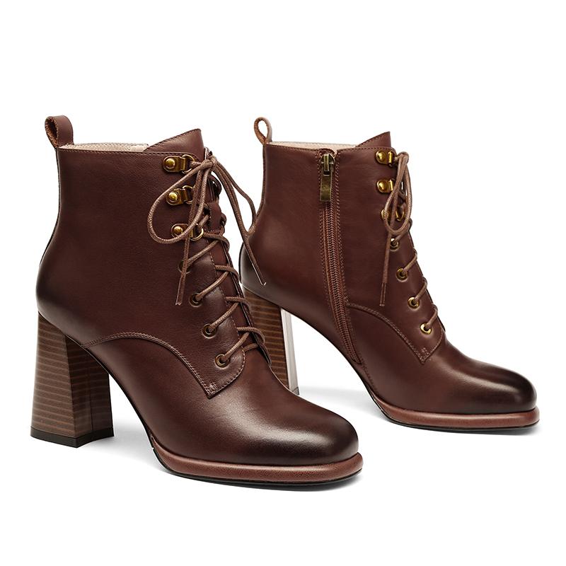 2019新款真皮方头女靴复古英伦风马丁靴女粗跟秋冬加绒高跟短靴女