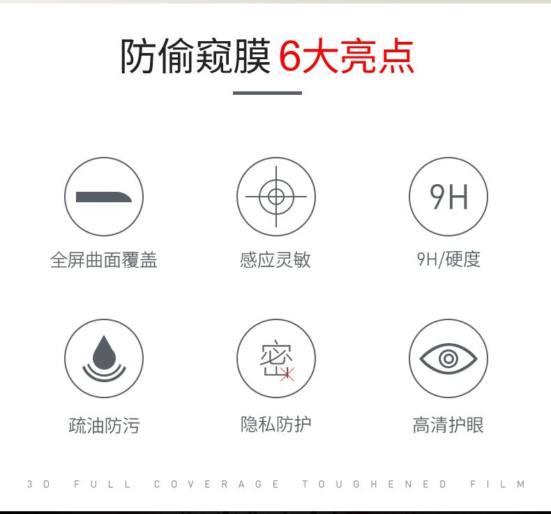古尚古 苹果手机45°防窥钢化膜 图2