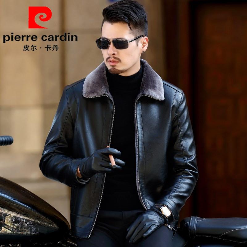 皮尔卡丹冬新款男装一体加绒厚男士外套绵羊大码中年皮毛爸爸皮衣