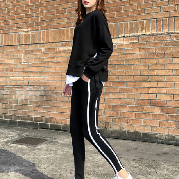 2020 Spring and Autumn new Korean version of leisure running sports suit fake two loose-fitting fashion students yang air-guard girl 21 Online shopping Bangladesh