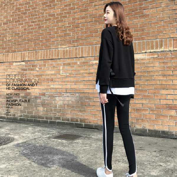 2020 Spring and Autumn new Korean version of leisure running sports suit fake two loose-fitting fashion students yang air-guard girl 22 Online shopping Bangladesh