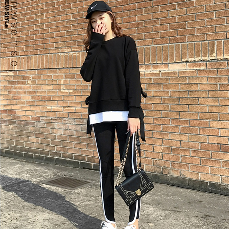 2020 Spring and Autumn new Korean version of leisure running sports suit fake two loose-fitting fashion students yang air-guard girl 19 Online shopping Bangladesh