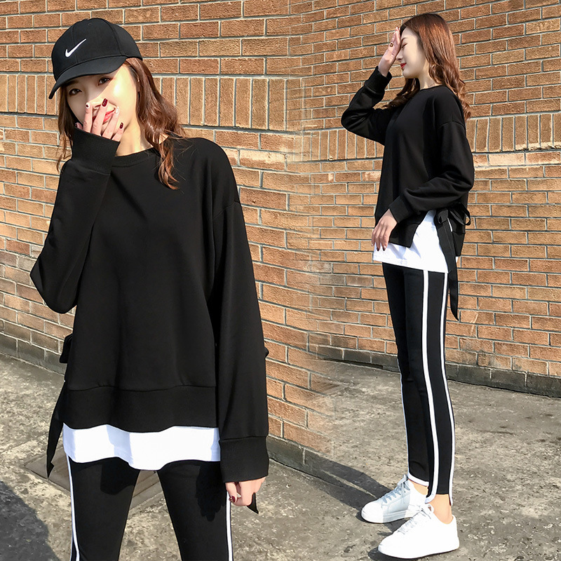 2020 Spring and Autumn new Korean version of leisure running sports suit fake two loose-fitting fashion students yang air-guard girl 26 Online shopping Bangladesh