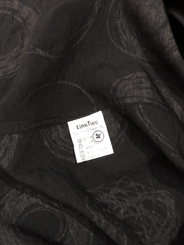 Line Two thin print shirt men's long-sleeved loose-fitting black Korean version of the trend handsome boys shirt design sense 57 Online shopping Bangladesh