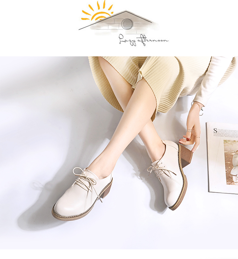 英伦风小皮鞋女春秋季新款百搭韩版粗跟中跟包鞋女牛筋底女鞋详细照片