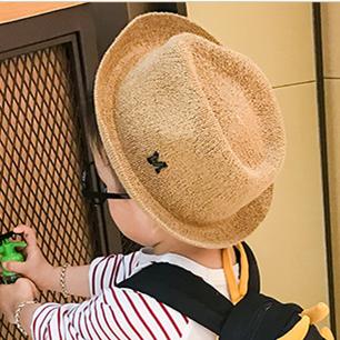 秋冬男童草帽沙滩遮阳帽子儿童礼帽渔夫帽宝宝潮帽女孩户外爵士帽