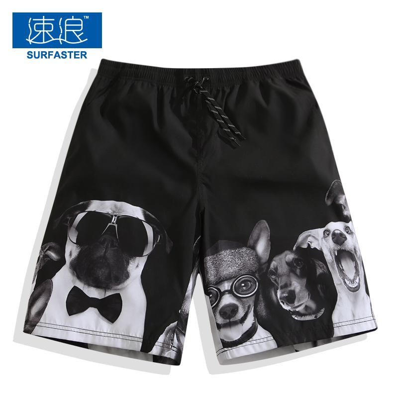 Свободная и быстрая сушка большой размер Пляжные штаны мужской Большие брюки цветка, летнее море комплект Пять очков плавание брюки весело мультфильм шорты прилива