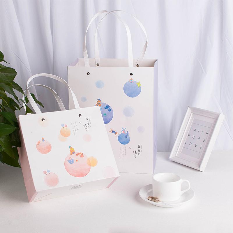 可爱韩版简约礼品袋购物纸袋纸绳手提袋文艺小清新创意礼物可定制