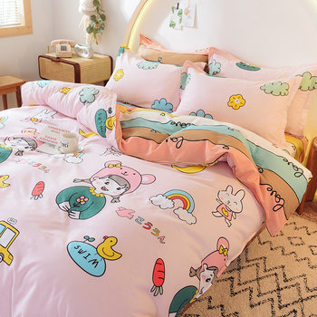 Pink cute cotton four-piece set 100 cotton skin-friendly sheets summer small fresh thin summer quilt cover 1.8