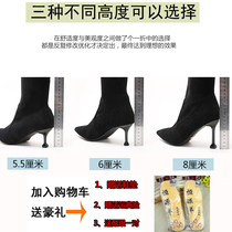 Knee-length boots female high heel 2018 autumn and Winter new thin boots female black