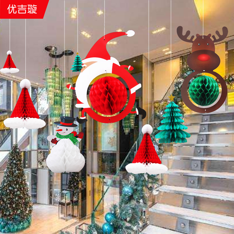 christmas decorations creative snowman old man tree deer pendant restaurant shopping mall shop scene layout supplies - Mall Christmas Decorations