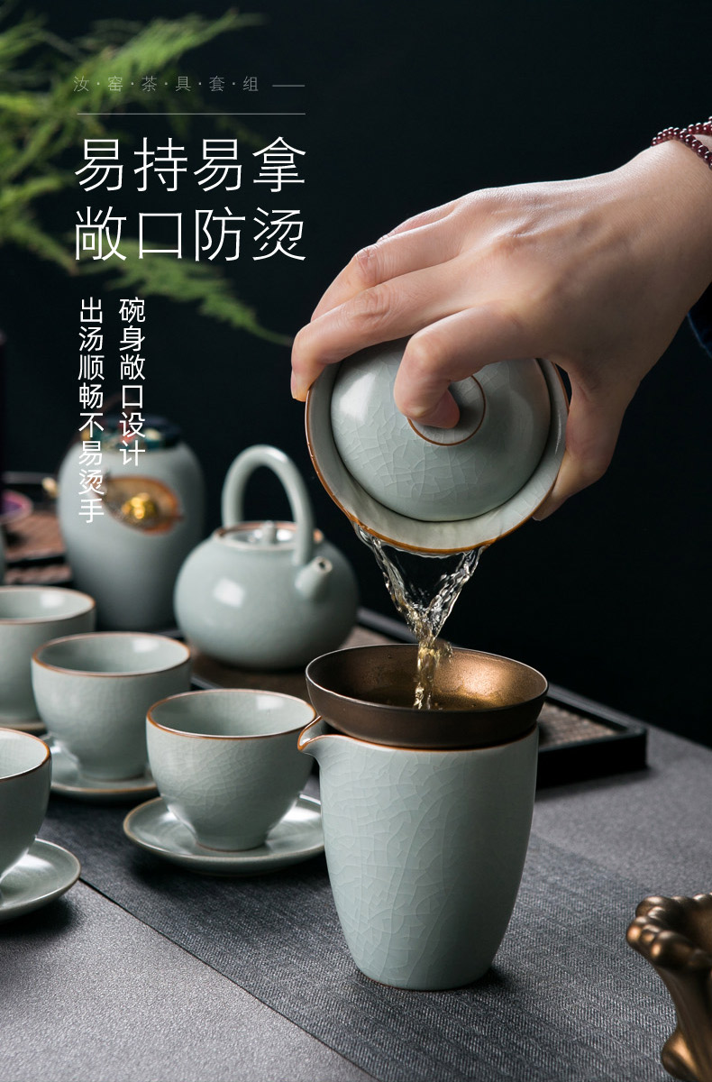 Your up the visitor kung fu tea set home sitting room of a complete set of Your porcelain crack teapot GaiWanCha wash to the caddy fixings