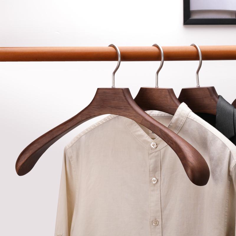 实木衣架家用衣柜宽肩木质椎木头制无痕防肩角衣服挂大圆弧衣撑子