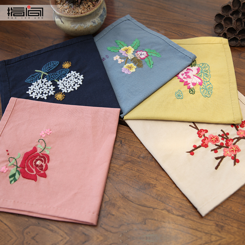 Finger DIY embroidery handkerchief kit handmade material package beginner antiquity non-Soviet embroidered cotton handkerchief gift men and women