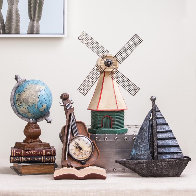 北欧复古小摆件工艺品模型创意道具欧式客厅酒柜家居美式软装饰品
