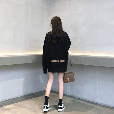 秋冬季韩版复古加绒加厚卫衣女宽松中长款学生黑色高领套头上衣潮
