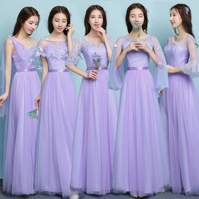 Bridesmaid dress long section 2018 new sleeves sisters skirts host ...