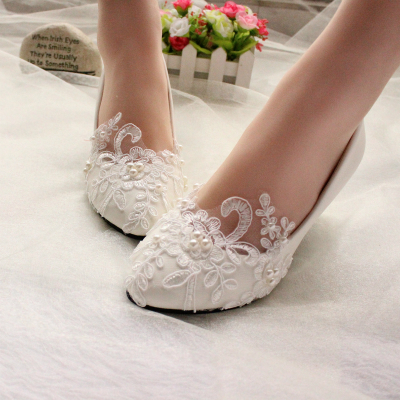 Superior Image Is Loading Lace White Ivory Crystal Wedding Shoes Bridal Flats