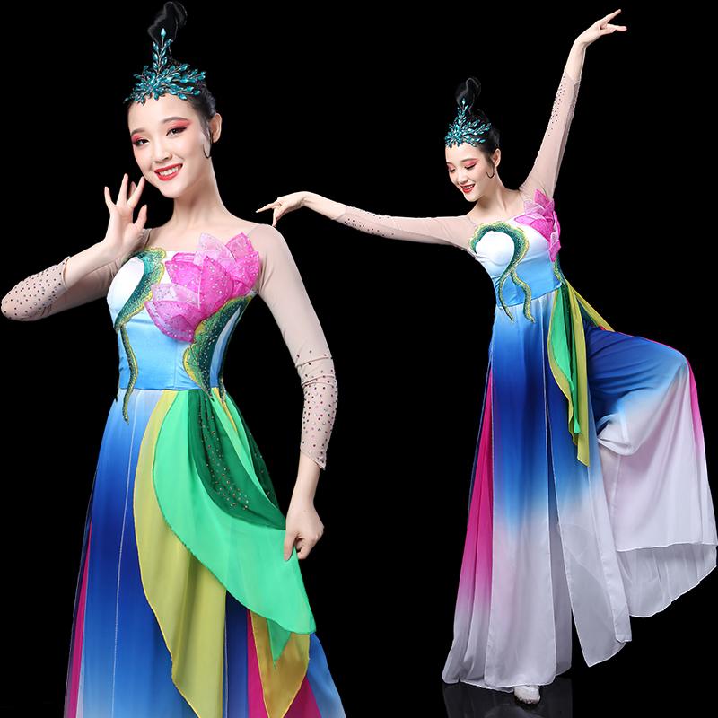 秧歌套装舞蹈演出服女2019新款春夏古典舞飘逸伞舞成人舞服装广场