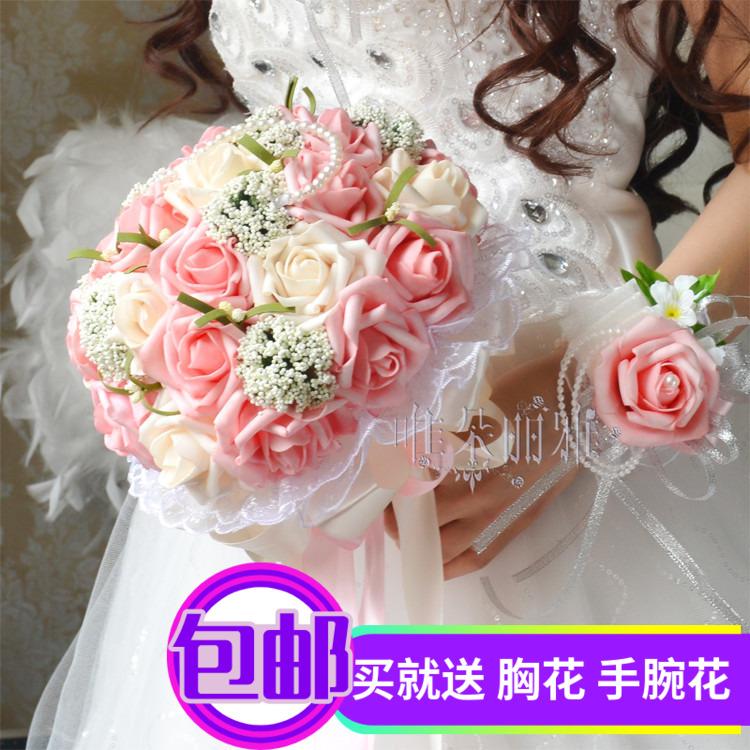 结婚花束中式韩版仿真新娘伴娘手捧花婚礼摄影道具玫瑰花束手捧花