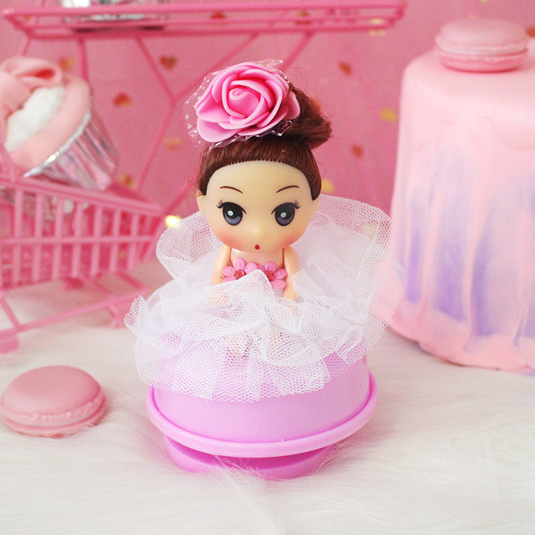 Doll Music Box White Pink Flower