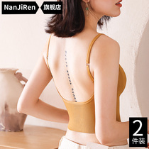 U-shaped back underwear women without rims small chest gathered on the support thin non-slip shoulder strapless bandeau bra